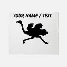 Custom Black Ostrich Silhouette Throw Blanket