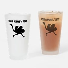Custom Black Ostrich Silhouette Drinking Glass