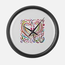 Monogrammed Art Heart Large Wall Clock