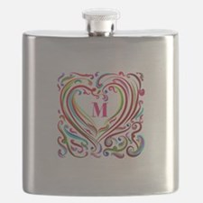 Monogrammed Art Heart Flask