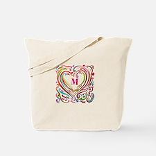 Monogrammed Art Heart Tote Bag