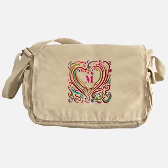 Monogrammed Art Heart Messenger Bag