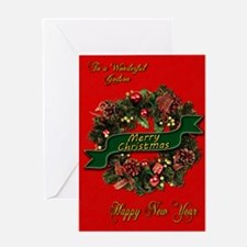 Christmas Wreath for your godson Greeting Cards