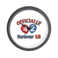 Officially 42 forever 18 Wall Clock