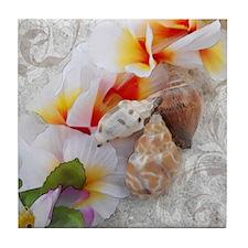 Floral Beach Shells Tile Coaster