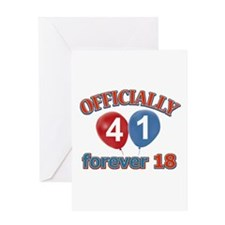 Officially 41 forever 18 Greeting Card