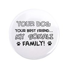 """My Somali Cat is Family 3.5"""" Button"""