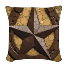 western country horseshoe texa Woven Throw Pillow