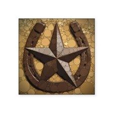 """western country horseshoe t Square Sticker 3"""" x 3"""""""