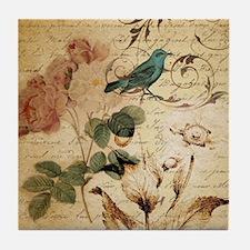 retro vintage rose teal bird botanica Tile Coaster