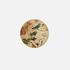 retro vintage rose teal bird botanical Mini Button