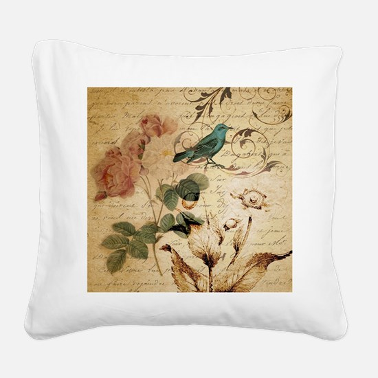 retro vintage rose teal bird  Square Canvas Pillow