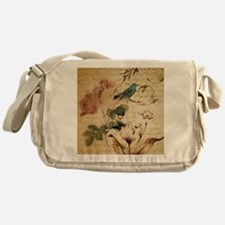 retro vintage rose teal bird botanic Messenger Bag