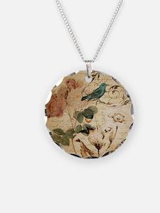 retro vintage rose teal bird Necklace