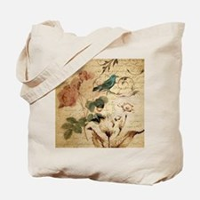 retro vintage rose teal bird botanical ar Tote Bag