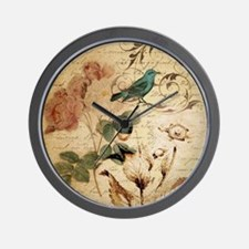 retro vintage rose teal bird botanical  Wall Clock