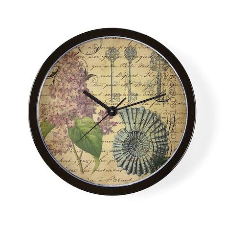 Vintage purple lilac seashell botanical wall clock by for Seashell wall clock