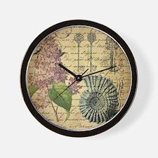 vintage purple lilac seashell botanical Wall Clock