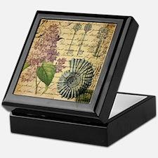 vintage purple lilac seashell botanic Keepsake Box