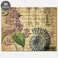 vintage purple lilac seashell botanical art Puzzle