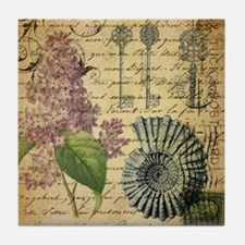 vintage purple lilac seashell botanic Tile Coaster