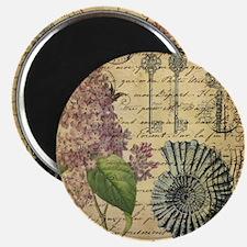 vintage purple lilac seashell botanical art Magnet