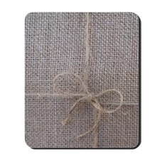 Burlap with Ribbon Mousepad