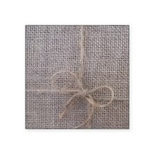 "Burlap with Ribbon Square Sticker 3"" x 3"""