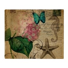 hydrangea butterfly starfish seahors Throw Blanket