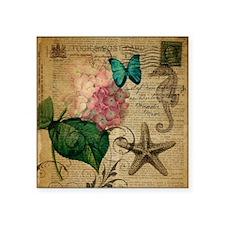 "hydrangea butterfly starfis Square Sticker 3"" x 3"""