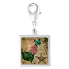 hydrangea butterfly starfish  Silver Square Charm
