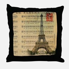 vintage paris eiffel tower music note Throw Pillow