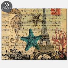 vintage paris eiffel tower starfish fashion Puzzle
