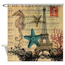 vintage paris eiffel tower starfish Shower Curtain