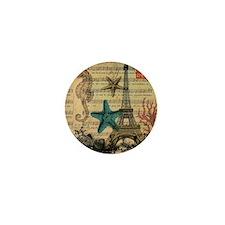 vintage paris eiffel tower starfish fa Mini Button