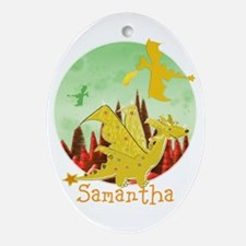 Cute Dragon with custom Name Ornament (Oval)