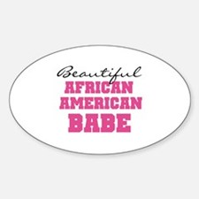 African American Babe Oval Decal