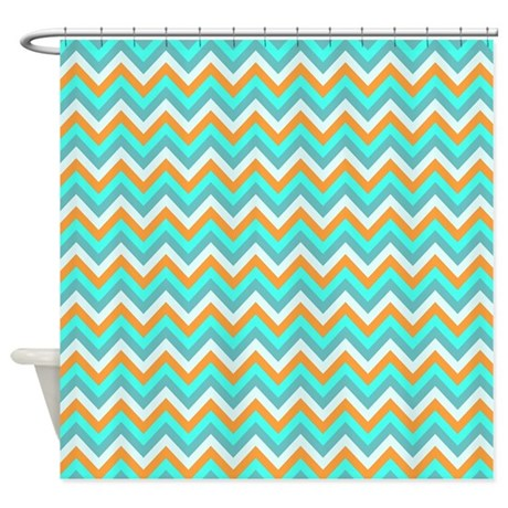 Turquoiseorange Chevrons Shower Curtain By