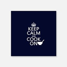 "Keep Calm and Cook On Square Sticker 3"" x 3"""