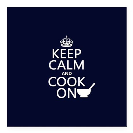 """Keep Calm and Cook On Square Car Magnet 3"""" x 3"""""""