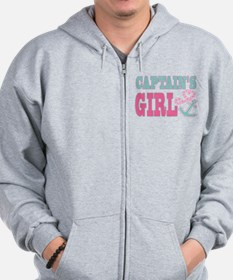 Captains Girl Boat Anchor and Heart Zip Hoodie