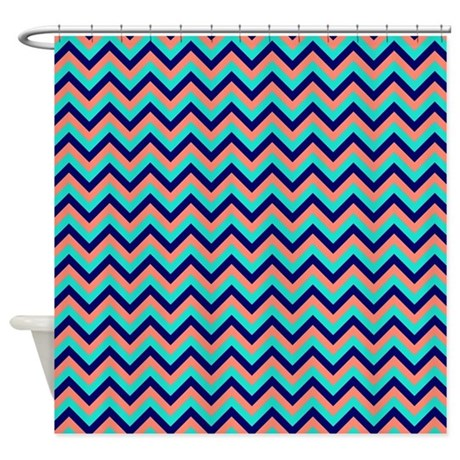 Turquoise Navy And Peach Chevrons Shower Curtain By
