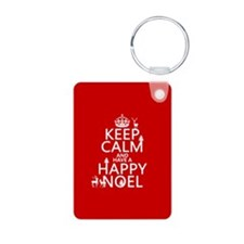 Keep Calm and Happy Noel Aluminum Photo Keychain