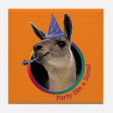 Llama Birthday Tile Coaster