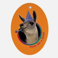 Llama Birthday Oval Ornament