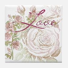 Vintage Floral Love Tile Coaster