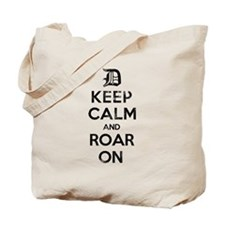 Detroit D Keep Calm and Roar On Tote Bag