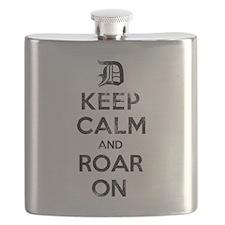 Detroit D Keep Calm and Roar On Flask