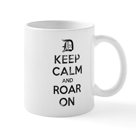 Detroit D Keep Calm and Roar On Mugs