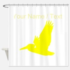 Custom Yellow Pelican Silhouette Shower Curtain